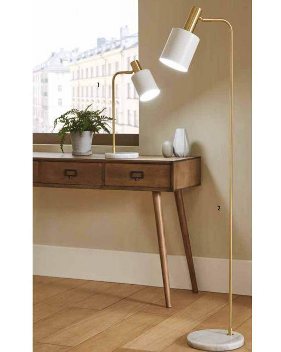 Devere White Marble & Gold Floor Lamp