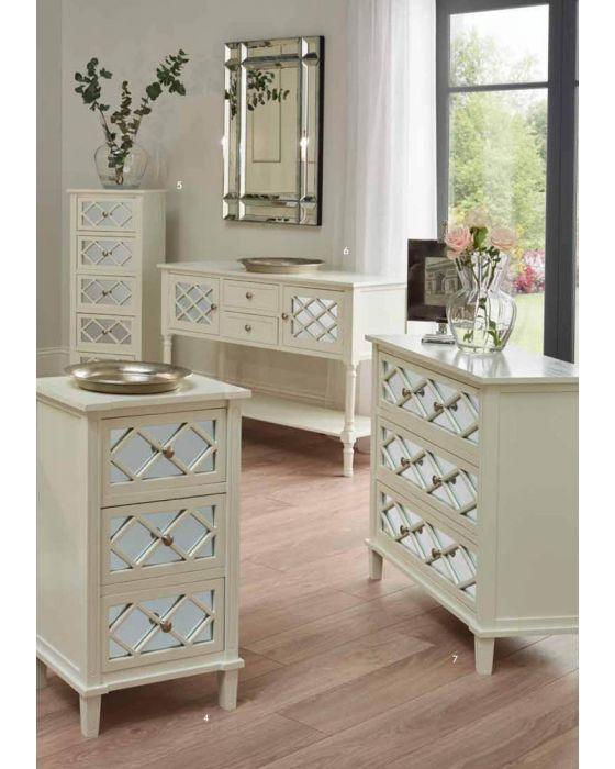Sara Ivory Mirrored Pine 3 Drawer Bedside