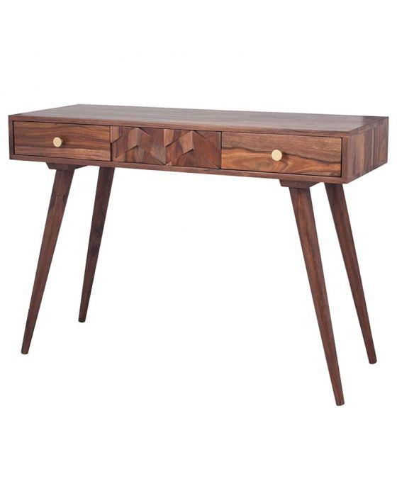 3D Honeycomb Design Sheesham Wood Console Table
