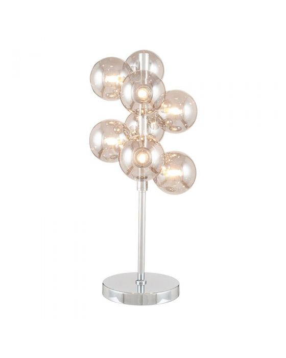 8 Ball Smoke Glass Orb and Chrome Table Lamp