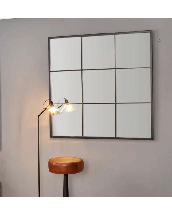 9 Panel Black Metal Mirror with Foxed Glass