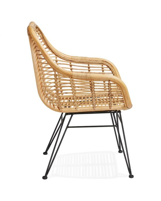 Aberg Rattan Natural and Black Armchair