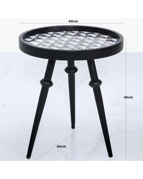 Abstract Black and White Wooden Side Table