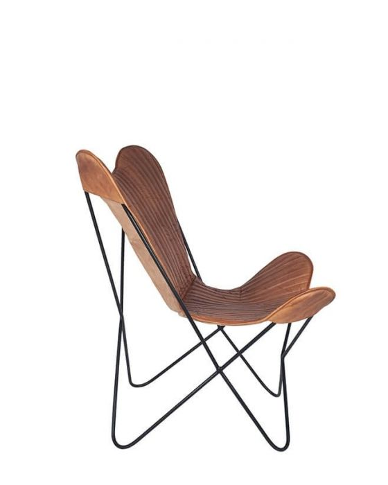 Aged Brown Leather Butterfly Chair