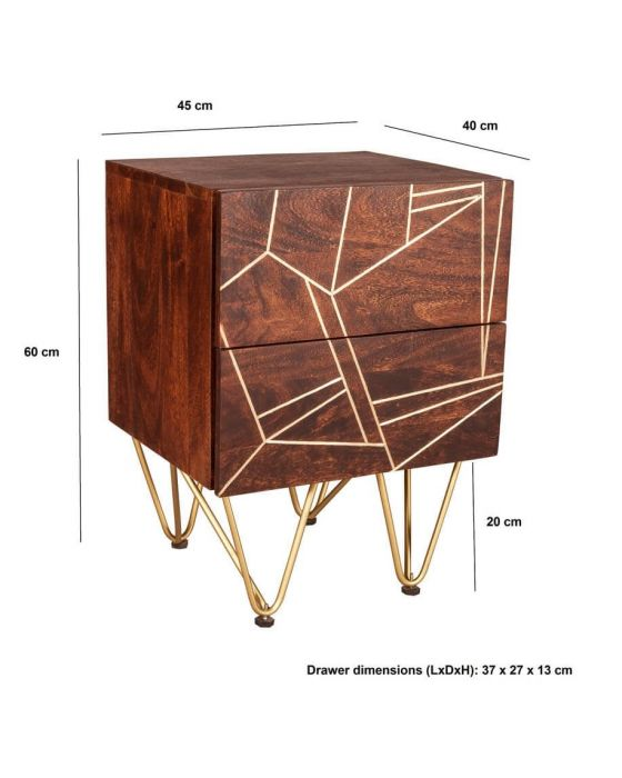Ajay Dark Gold 2 Drawer Side Table With Gold Inlay