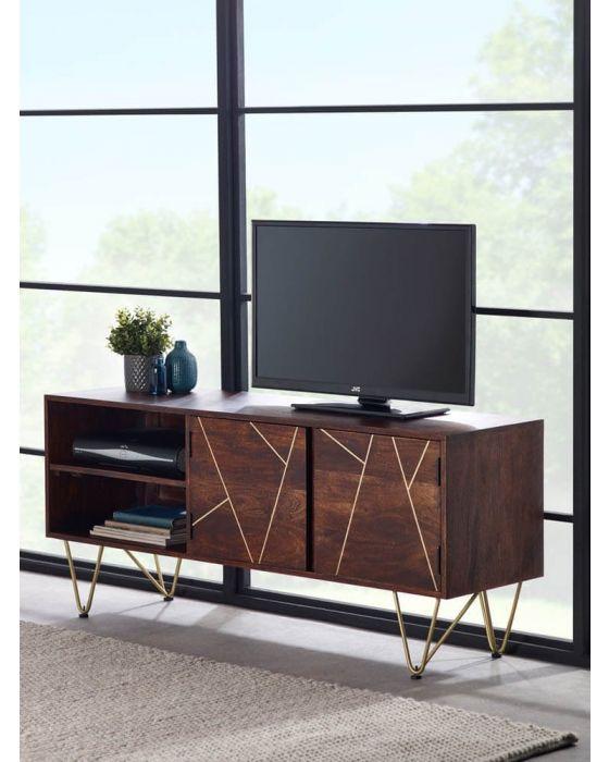 Ajay Dark Gold TV Unit With Gold Inlay