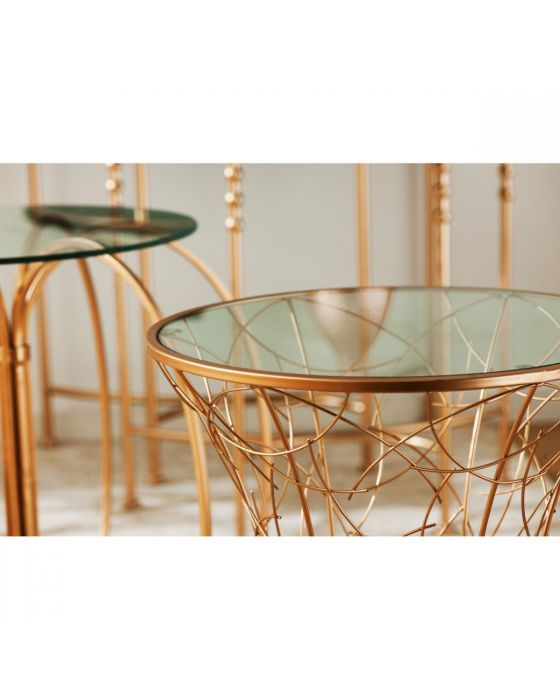 Alexa Detailed Base Gold Side Table