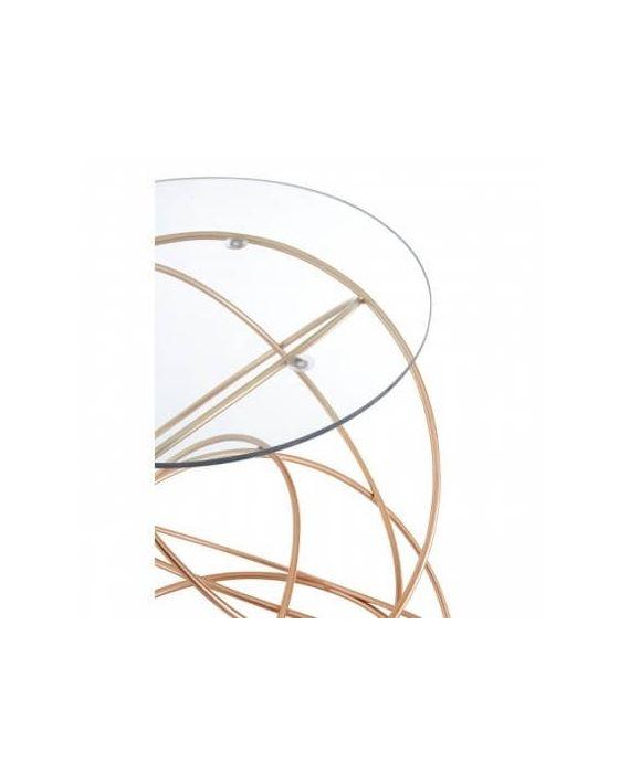 Alexa Swirls Base Rose Gold Side Table