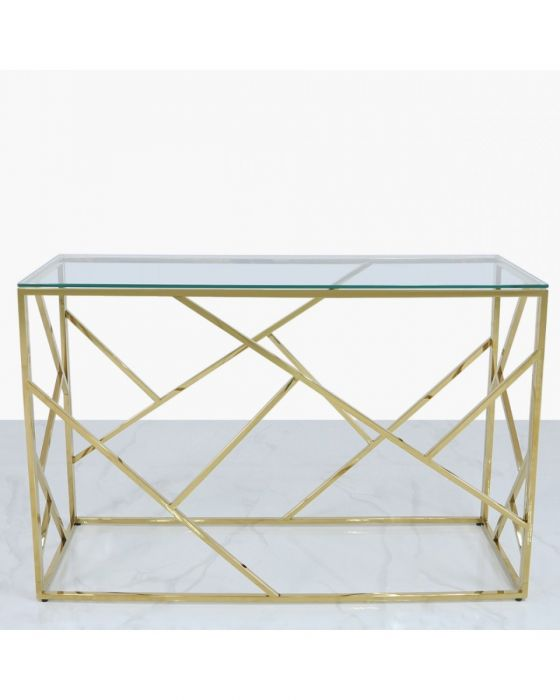Amber Gold Metal Console Table