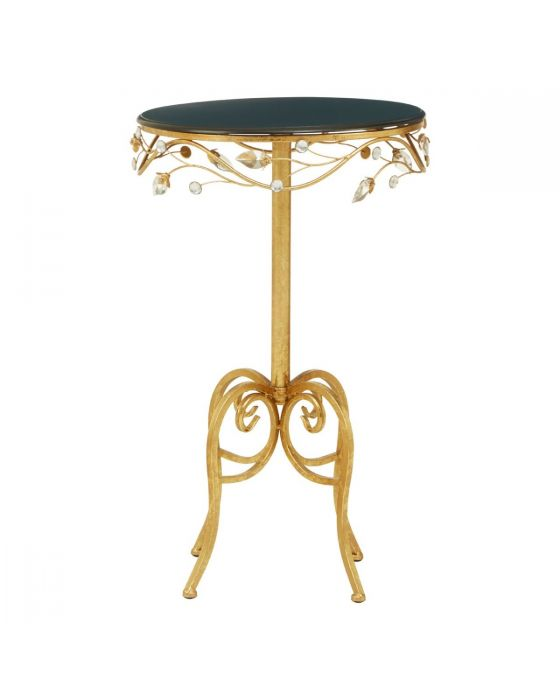 Andrea Round Side Table with Black Wooden Top