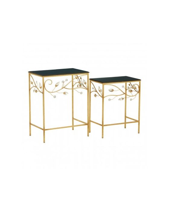 Andrea Set Of 2 Side Tables With Black Wooden Top