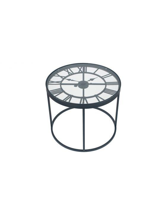 Antique Black Metal Clock Design Side Table