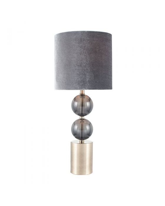 Antique Brass and Smoke 2 Orb Glass Table Lamp