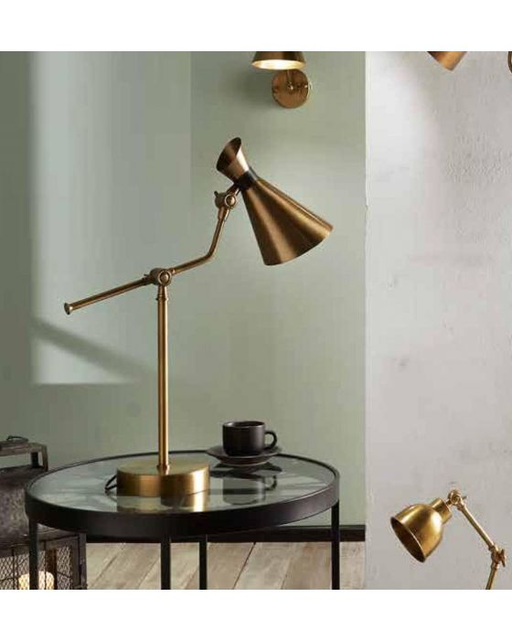 Antique Brass Metal Conical Table Lamp