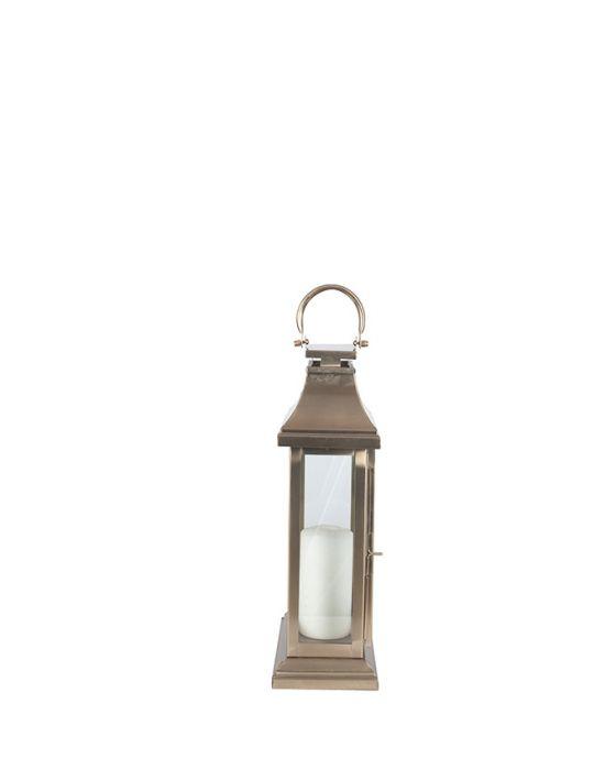 Antique Brass Steel & Glass Oblong Candle Holder Lantern