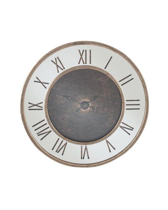 Antique Gold Wood & Mirror Geometric Wall Clock