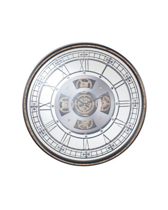 Antique Gold Wood & Mirror Glass Round Working Cog Wall Clock