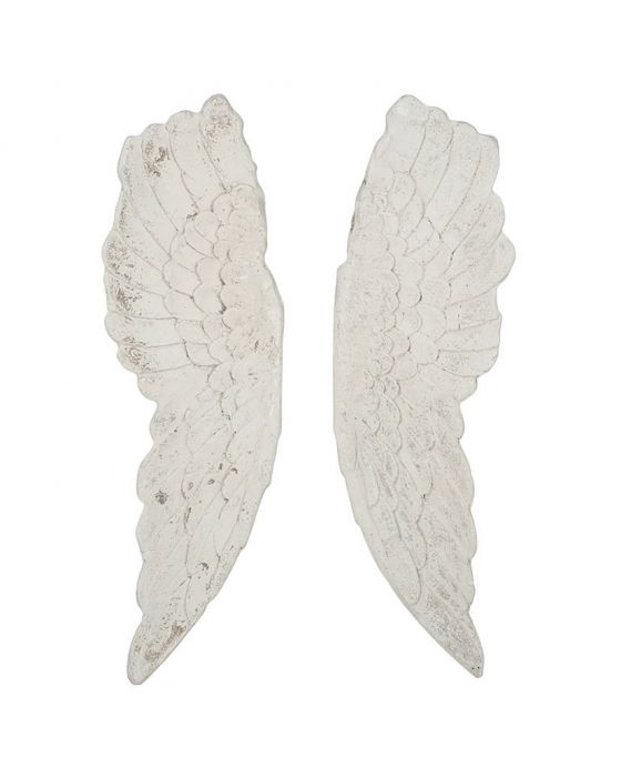 Antique White Wash Polyresin 3D Angel Wings Wall Art