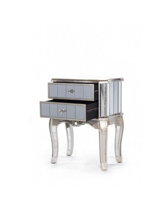 Antonia Shabby Champagne Silver Mirrored Bedside Table