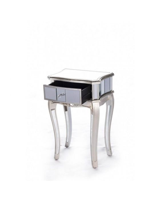 Antonia Shabby Champagne Silver Mirrored Side Table