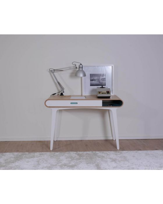 Arcus Oak and Teal Desk/Console Table
