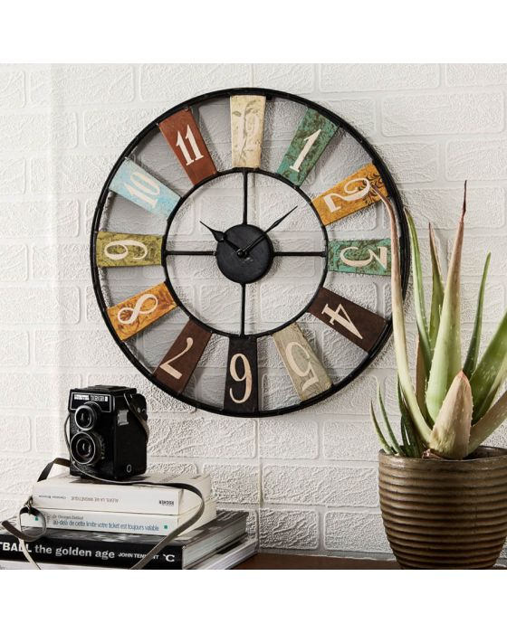 Arial Large Industrial Multi Colour Wall Clock