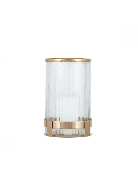 Art Deco Gold Metal and Clear Textured Glass Tall Candle Holder