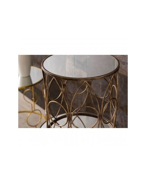 Avento Mirrored and Antique Set of 2 Tables