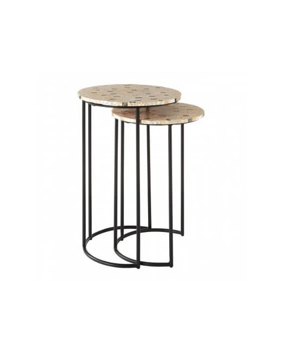 Berry Mother of Pearl Set of 2 Side Tables
