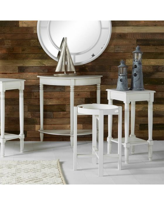 Beth Rustic White Pine Half Moon Console Table