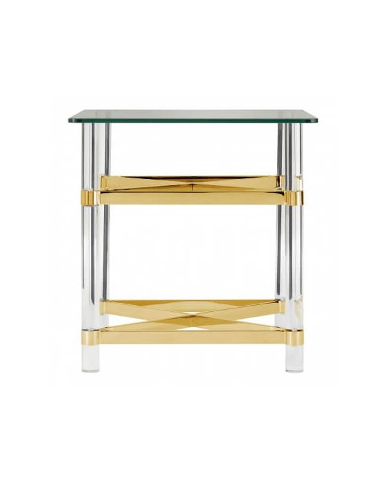 Bianco Glass Top Side Table