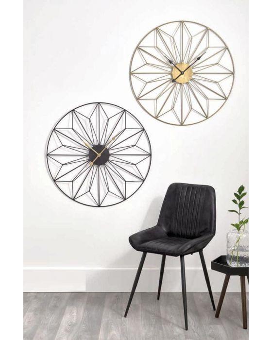 Black and Gold Metal Geometric Round Wall Clock