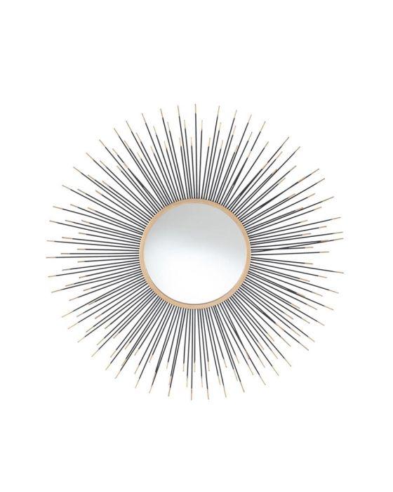 Black and Gold Metal Starburst Round Wall Mirror