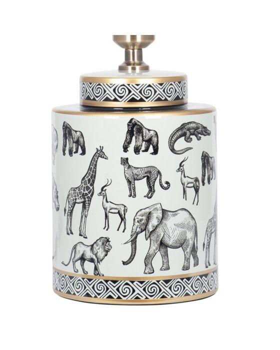 Black and White Safari Print Ceramic Table Lamp - Base Only