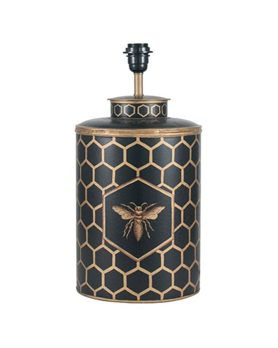 Black & Gold Honeycomb Hand Painted Metal Table Lamp - Base Only