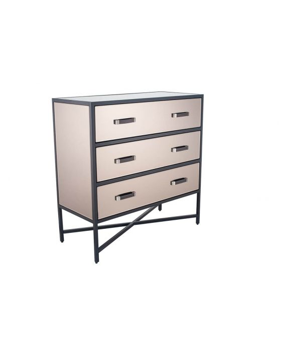 Black Metal and Bronze Glass 3 Drawer Chest