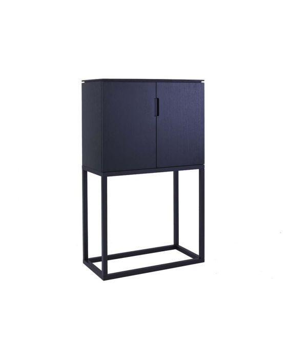 Black Stained Retro Large Tall Sideboard