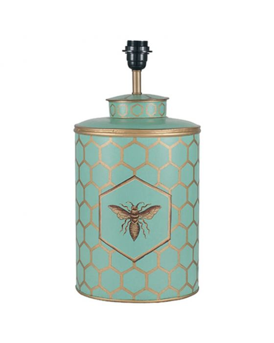 Blue & Gold Honeycomb Hand Painted Metal Table Lamp - Base Only