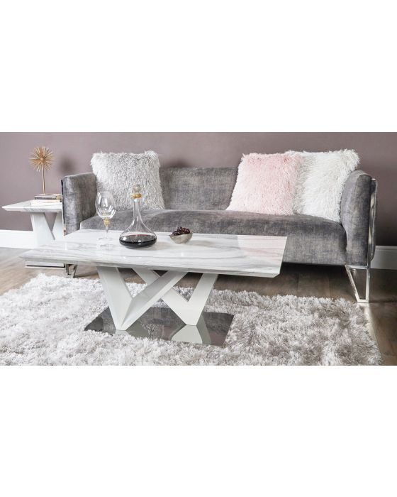 Caitlyn Marble Effect & Chrome Coffee Table