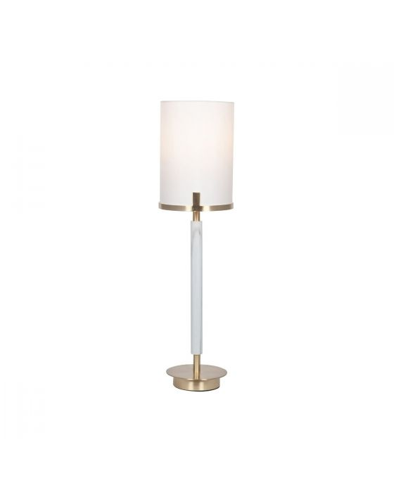 Champagne Gold Metal and Marble Effect Table Lamp with White Shade