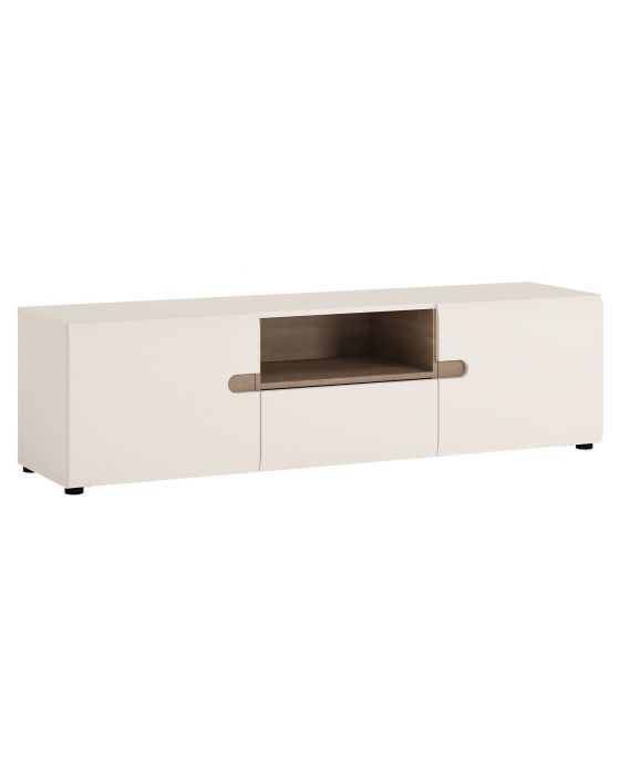 Chelsea Wide Tv Unit In White Gloss With An Oak Trim