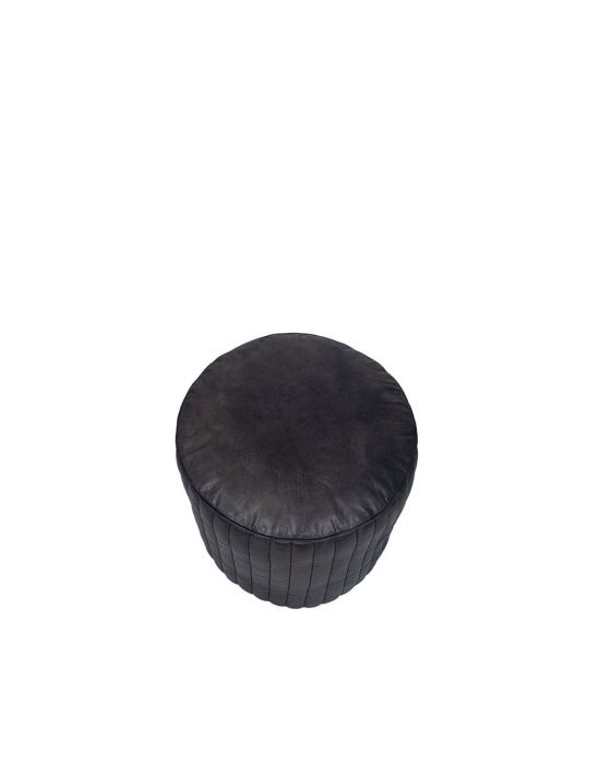 Mica Steel Grey Leather Round Pouffe