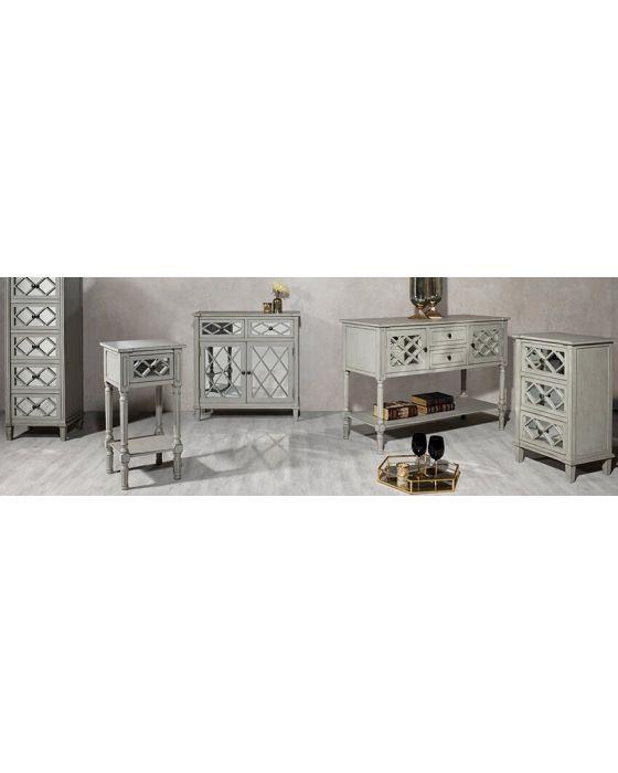 Clara Grey Mirrored Bedside Chest