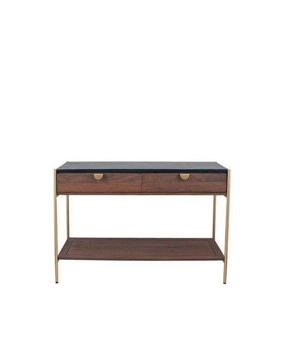 Claude Acacia and Black Marble 2 Drawer Console Table