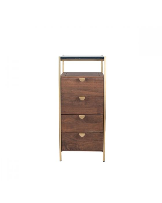 Claude Acacia and Black Marble 4 Drawer Tall Boy Chest