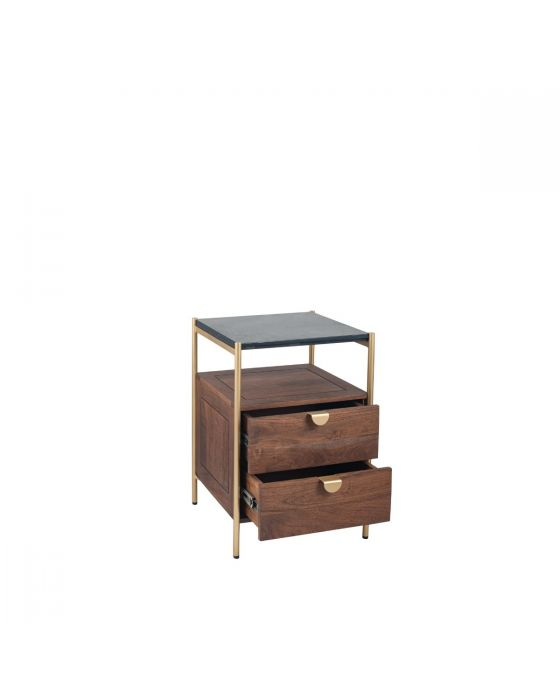 Claude Acacia Wood and Black Marble 2 Drawer Bedside Chest