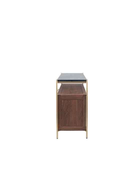Claude Acacia Wood and Black Marble 2 Drawer Display Sideboard