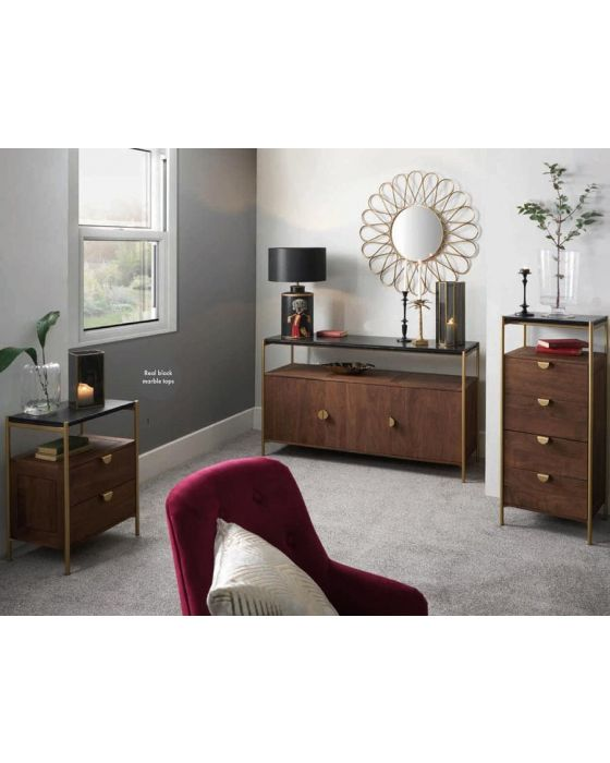 Claude Acacia Wood and Black Marble 2 Drawer Desk