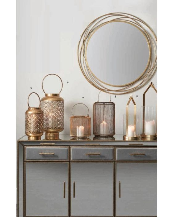 Clear Glass and Brass Metal Small Candle Holder