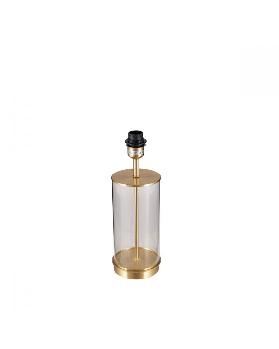 Clear Glass and Champagne Metal Table Lamp - Base Only